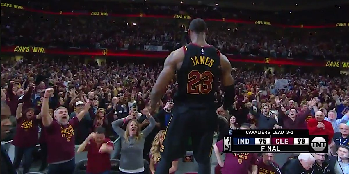 87201b80628a LeBron James s celebrates after knocking down a game-winning shot against  Indiana.