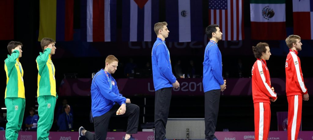 U.S. FENCER RACE IMBODEN TAKES A KNEE AT PAN-AM GAMES